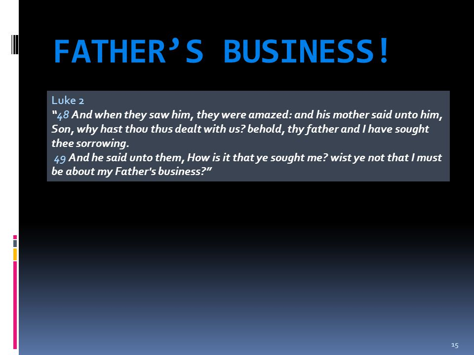 FATHER'S BUSINESS! Luke 2