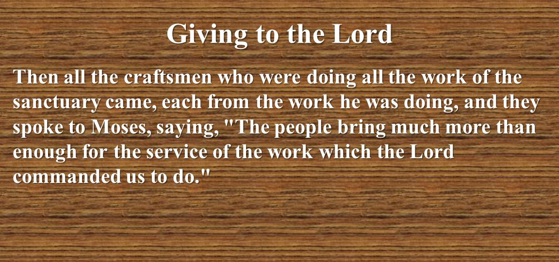 Giving to the Lord