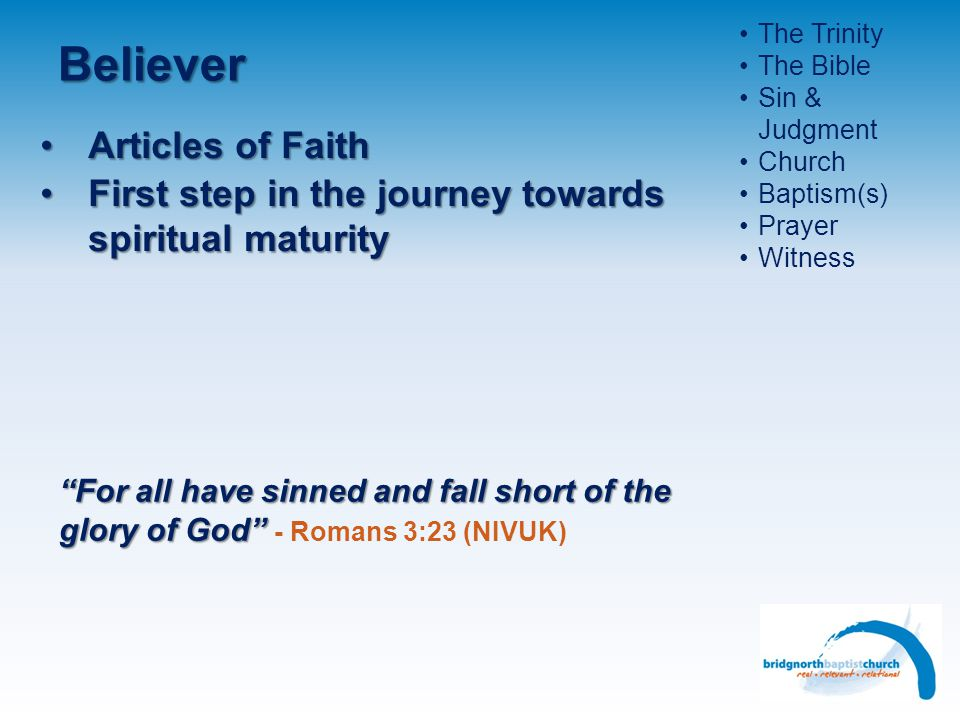 Believer Articles of Faith