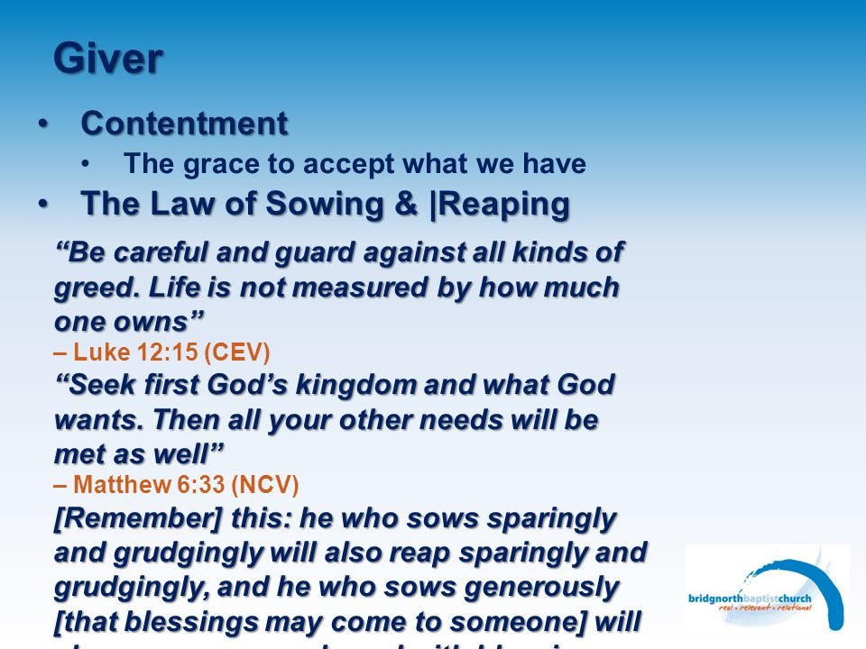 Giver Contentment The Law of Sowing & |Reaping