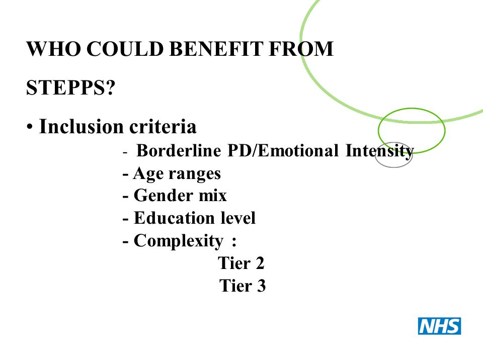 WHO COULD BENEFIT FROM STEPPS Inclusion criteria - Age ranges