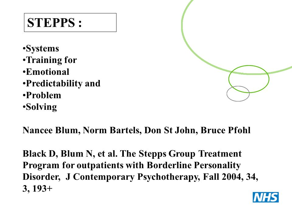 STEPPS : Systems Training for Emotional Predictability and Problem