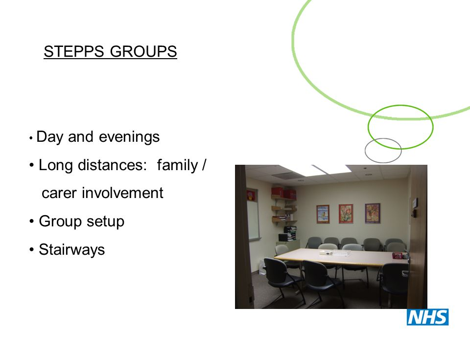 Long distances: family / carer involvement Group setup Stairways