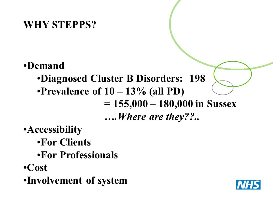 WHY STEPPS Demand. Diagnosed Cluster B Disorders: 198. Prevalence of 10 – 13% (all PD) = 155,000 – 180,000 in Sussex.