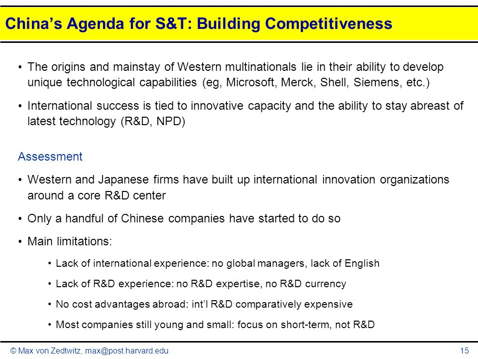 China's Agenda for S&T: Building Competitiveness