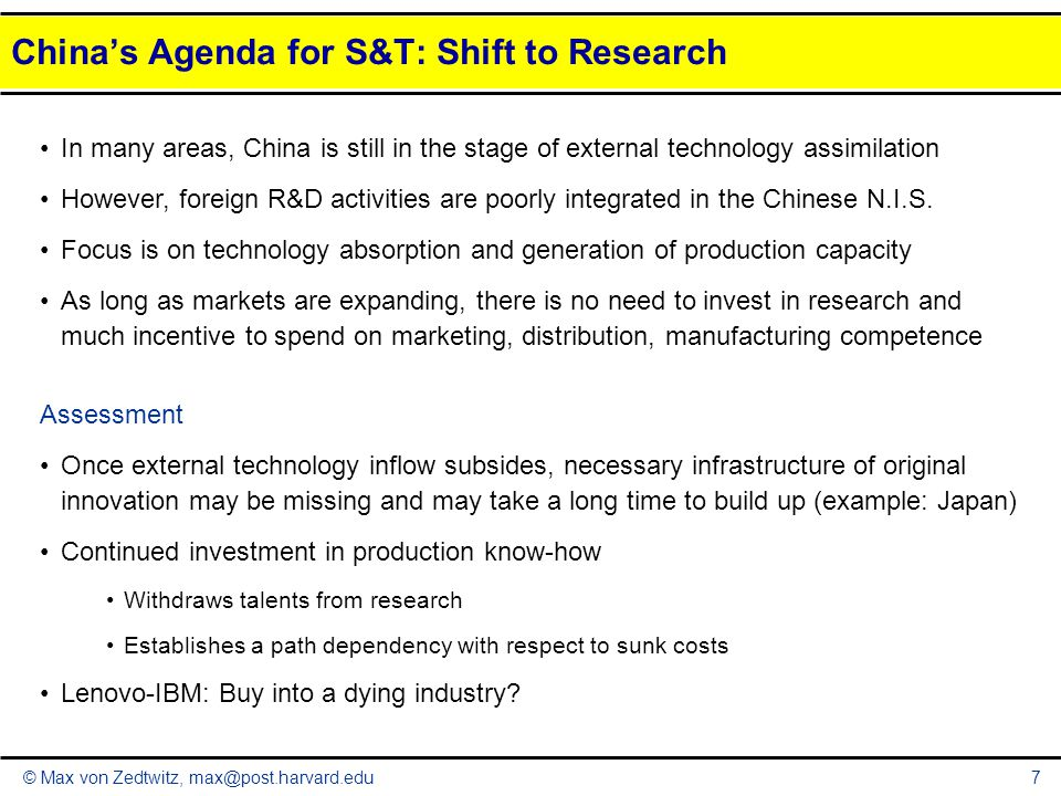 China's Agenda for S&T: Shift to Research