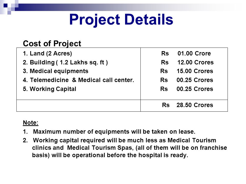Project Details Cost of Project 1. Land (2 Acres) Rs 01.00 Crore