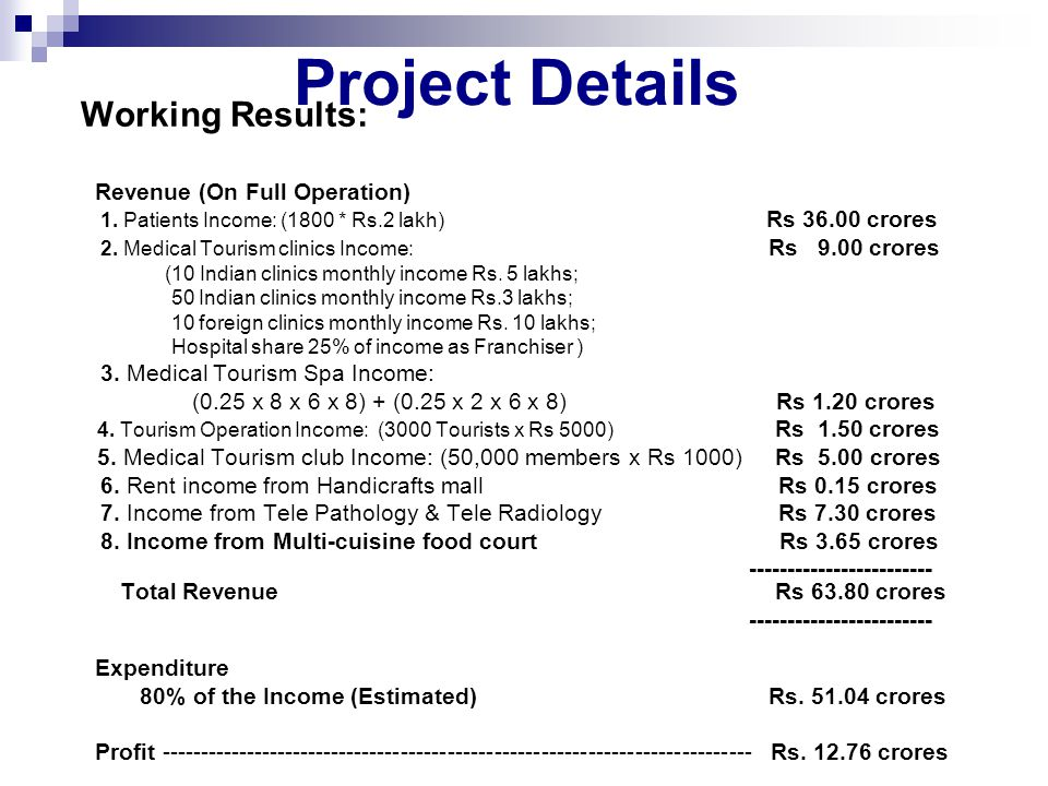 Project Details Working Results: