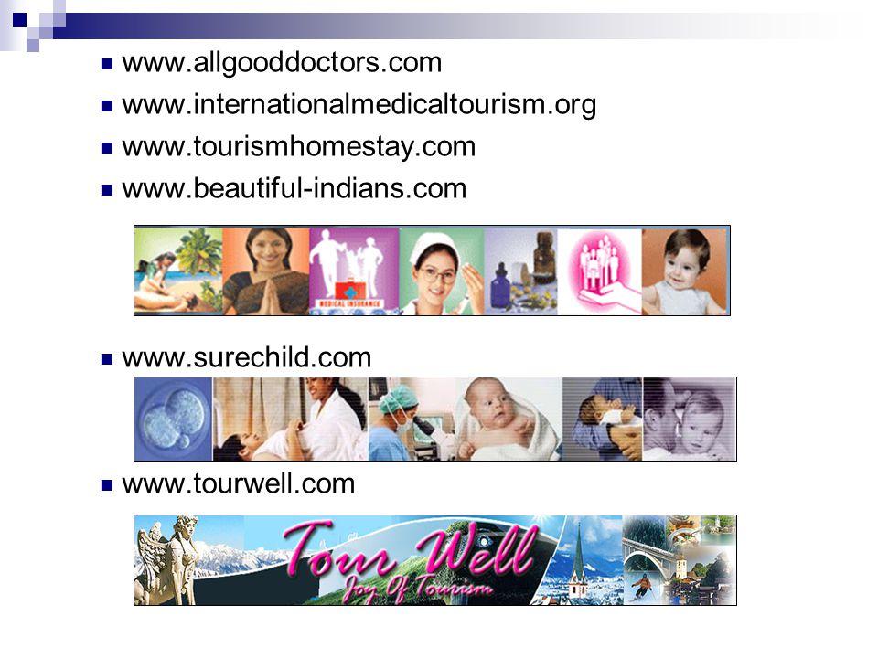 www.allgooddoctors.com www.internationalmedicaltourism.org. www.tourismhomestay.com. www.beautiful-indians.com.