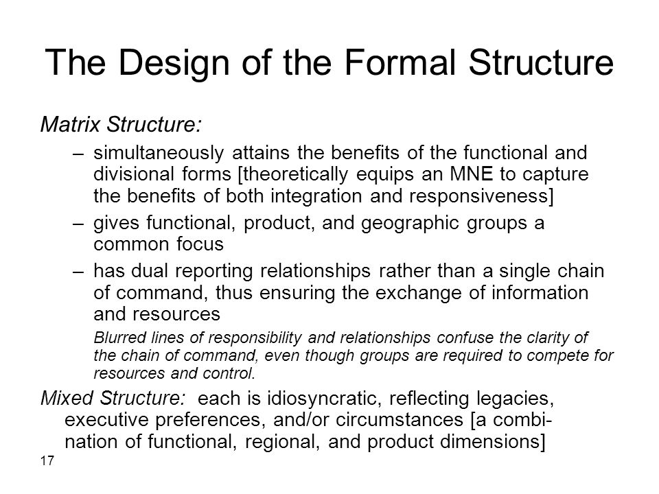 The Design of the Formal Structure