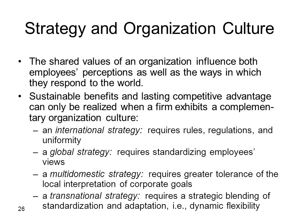 Strategy and Organization Culture