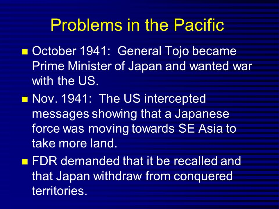 Problems in the Pacific