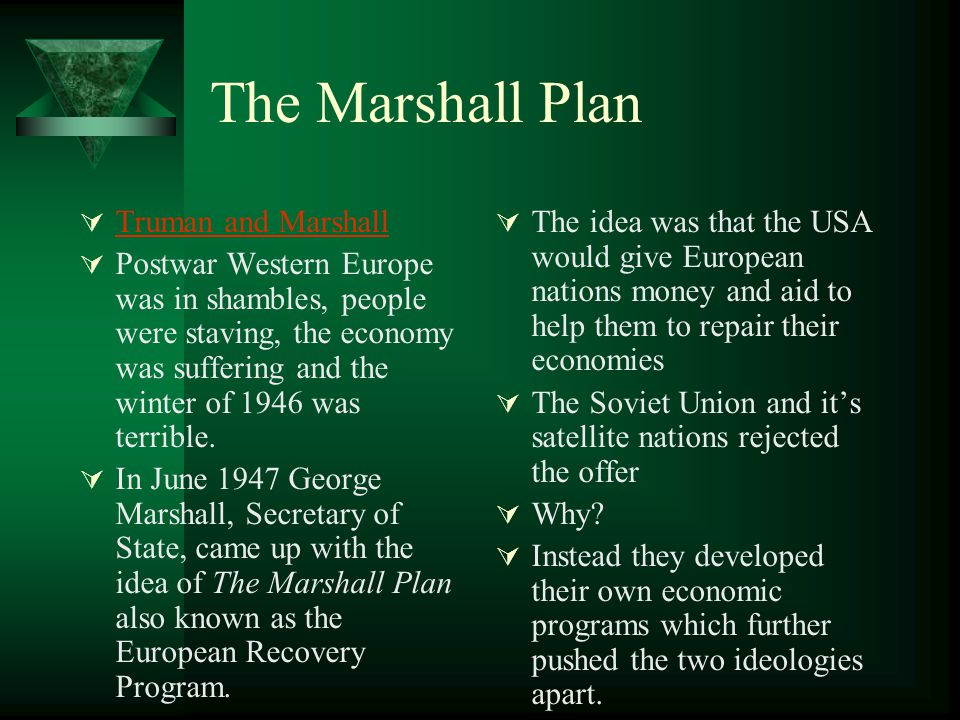 The Marshall Plan Truman and Marshall