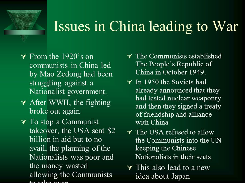 Issues in China leading to War