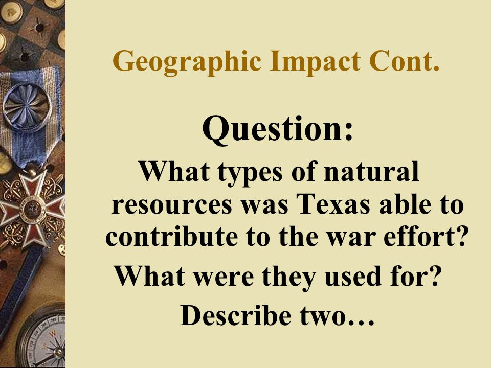 Geographic Impact Cont.