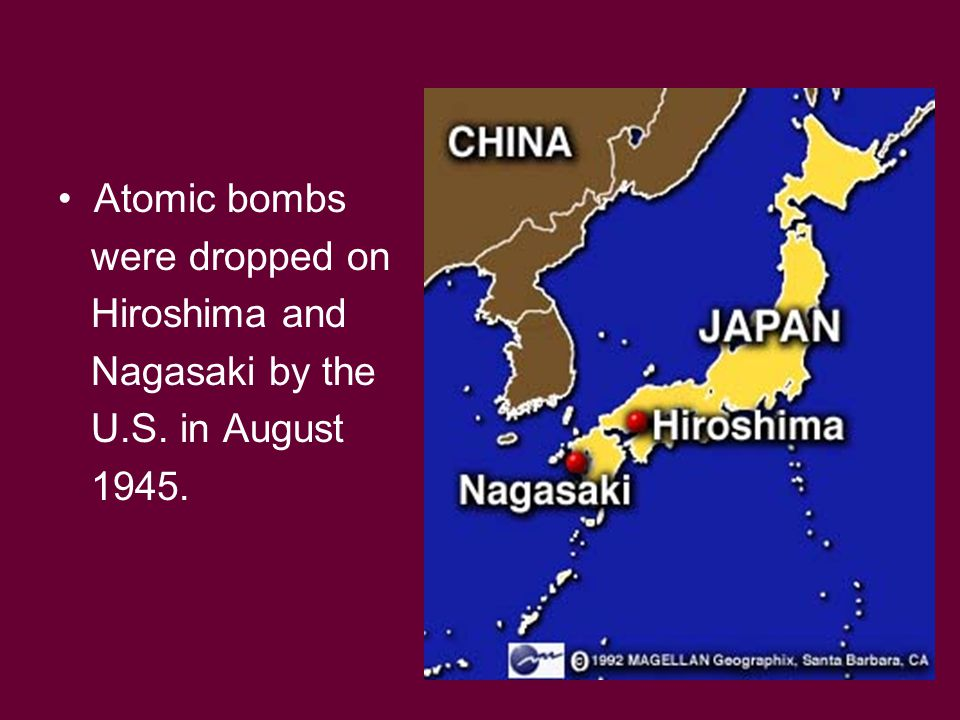 Atomic bombs were dropped on Hiroshima and Nagasaki by the U.S. in August 1945.