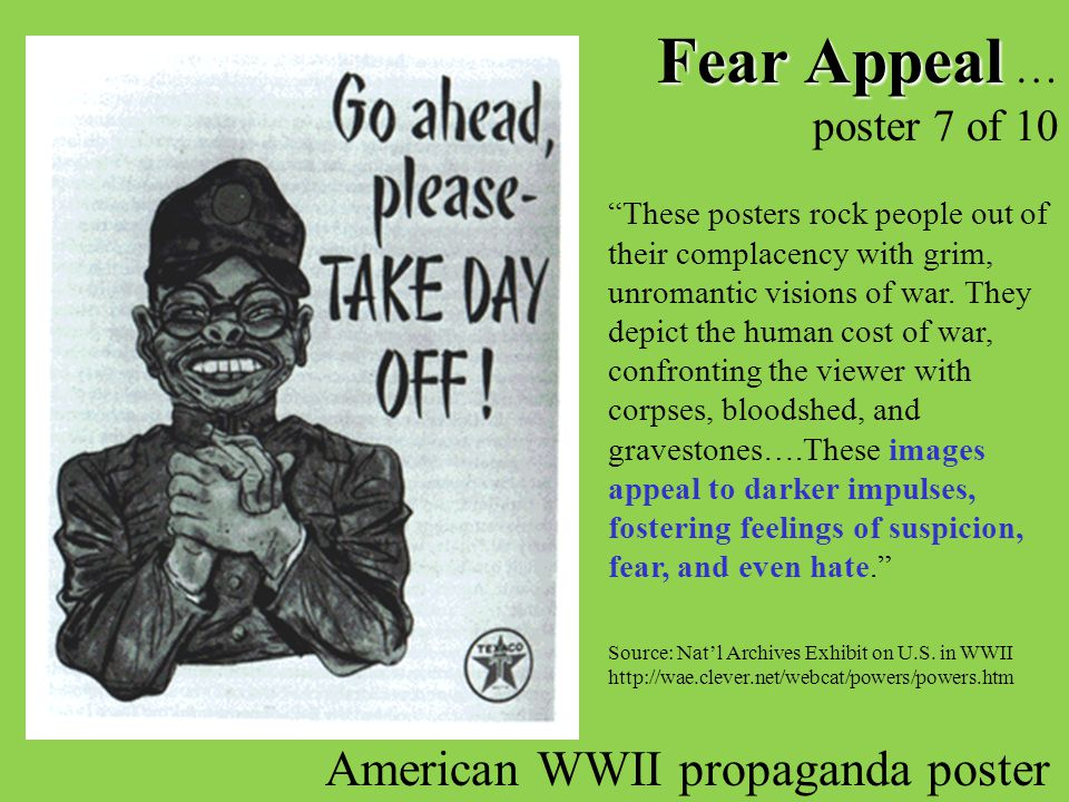 Fear Appeal … poster 7 of 10 American WWII propaganda poster