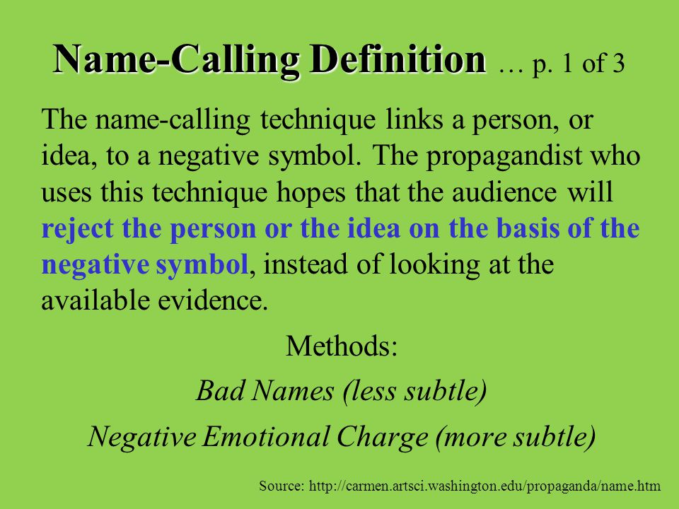 Name-Calling Definition … p. 1 of 3