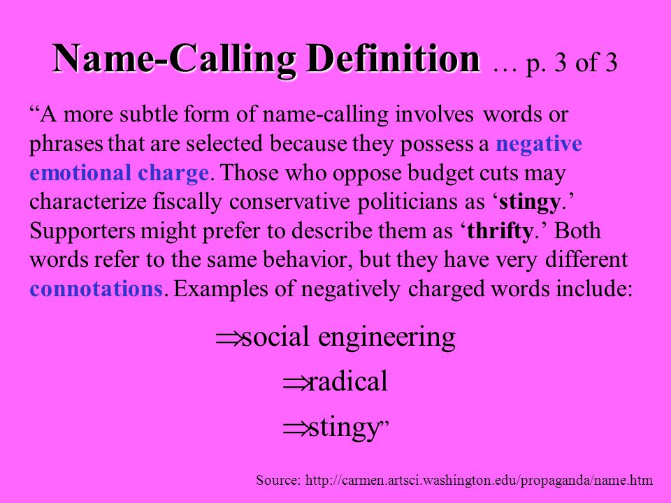 Name-Calling Definition … p. 3 of 3