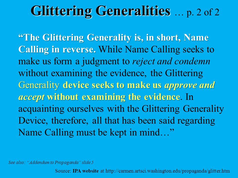 Glittering Generalities … p. 2 of 2