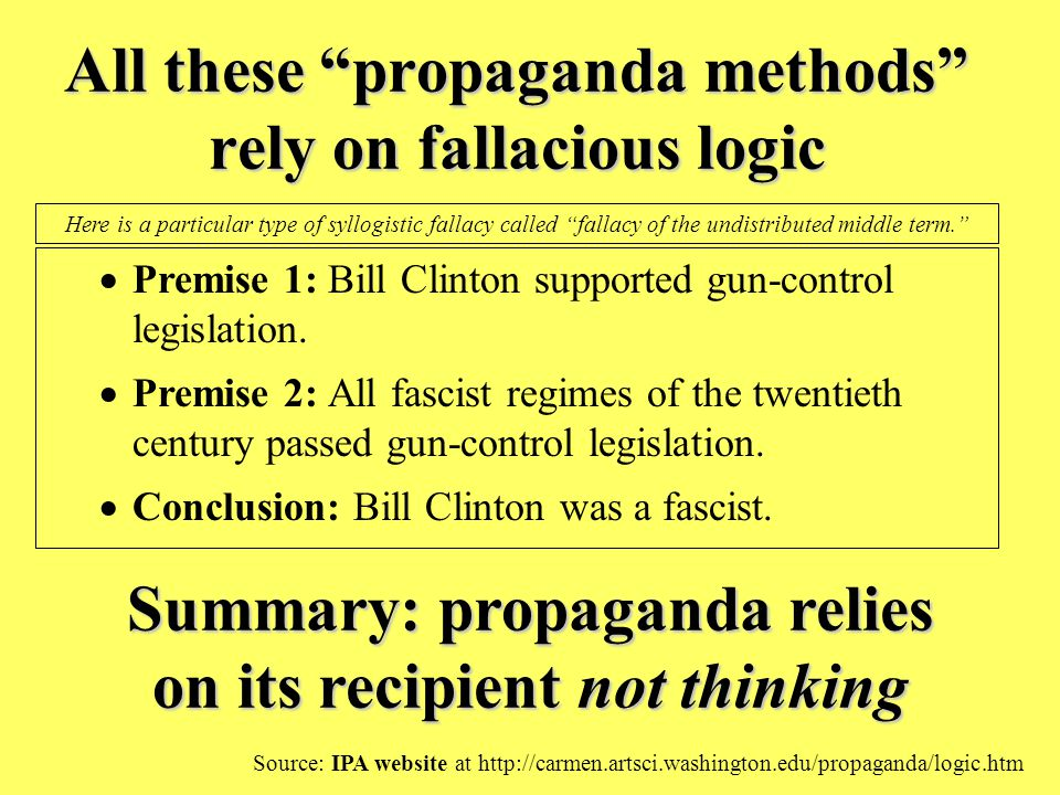 All these propaganda methods rely on fallacious logic