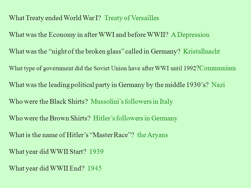 What Treaty ended World War I Treaty of Versailles