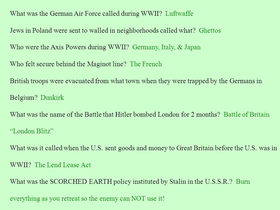What was the German Air Force called during WWII Luftwaffe