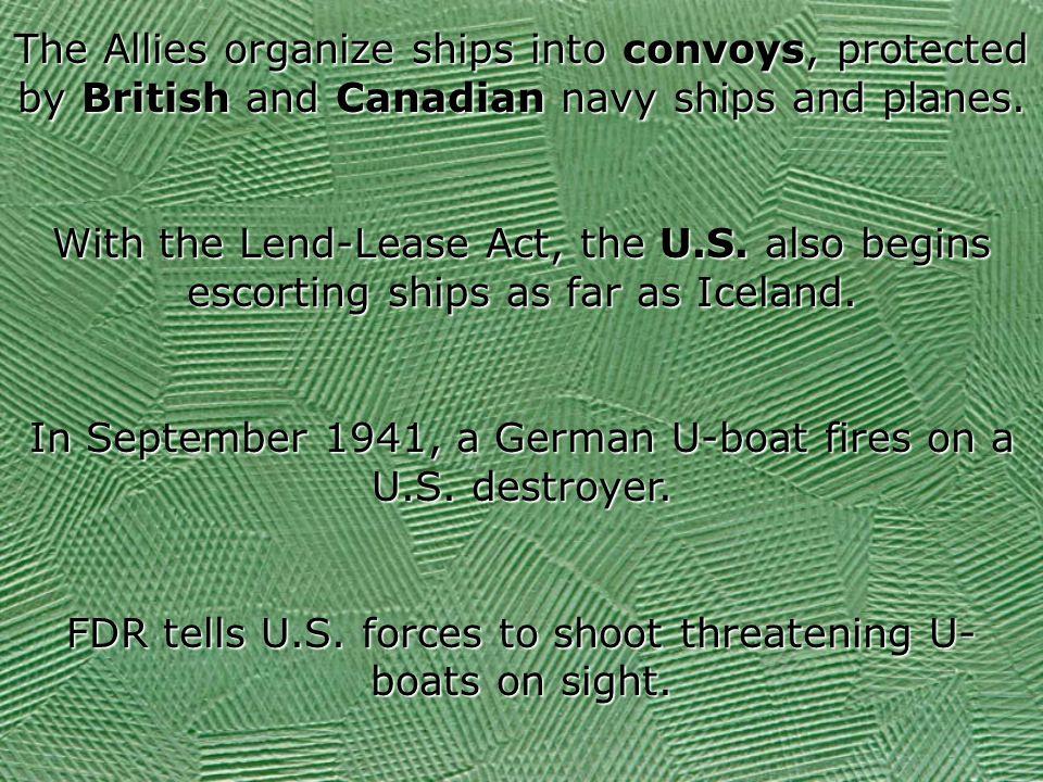 In September 1941, a German U-boat fires on a U.S. destroyer.