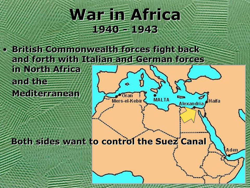 War in Africa 1940 - 1943 British Commonwealth forces fight back and forth with Italian and German forces in North Africa.