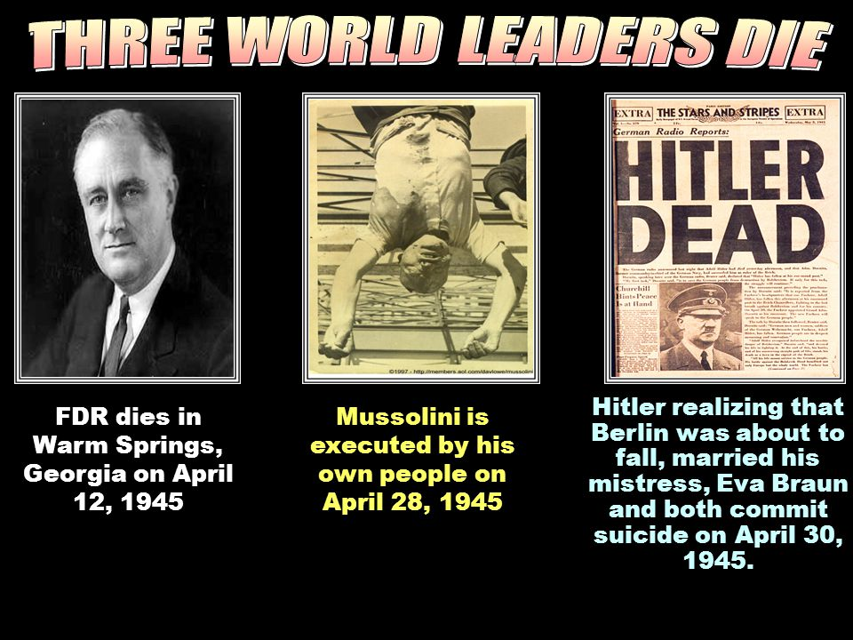 THREE WORLD LEADERS DIE