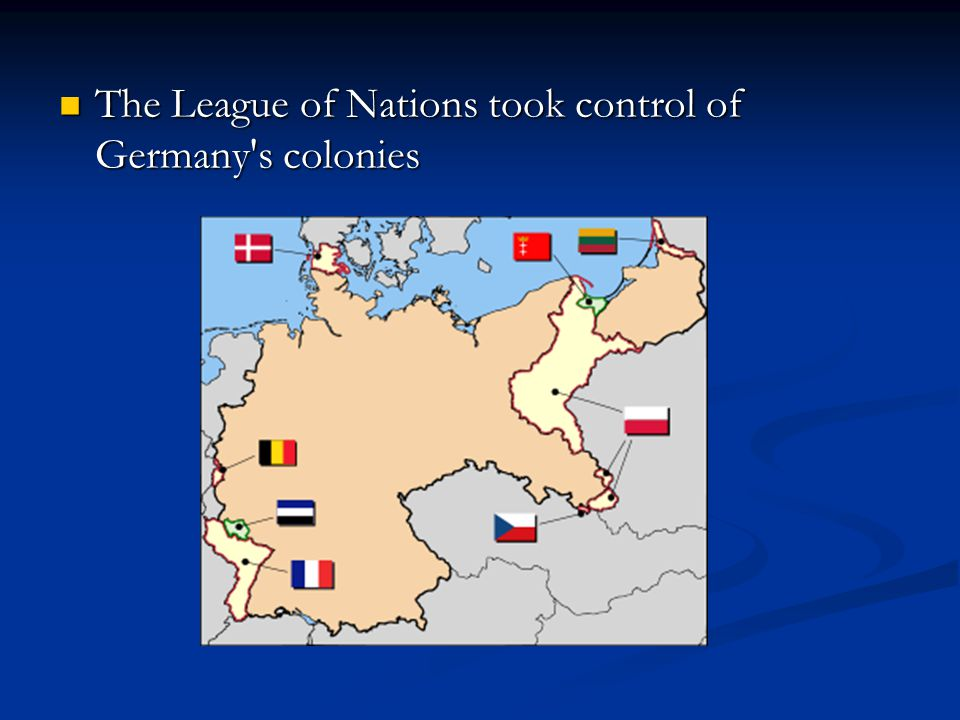 The League of Nations took control of Germany s colonies