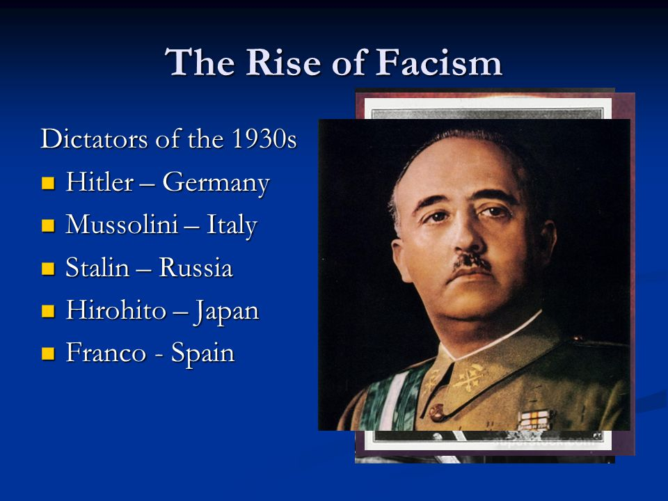 The Rise of Facism Dictators of the 1930s Hitler – Germany