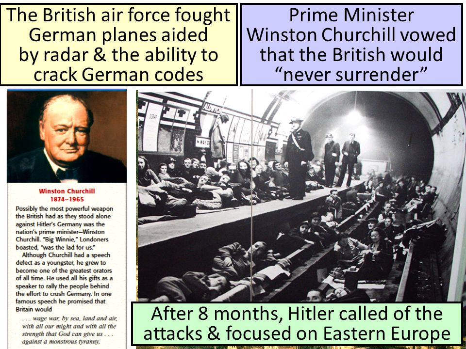 The British air force fought German planes aided by radar & the ability to crack German codes