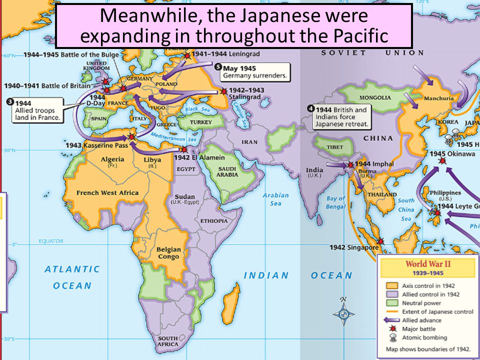 Meanwhile, the Japanese were expanding in throughout the Pacific