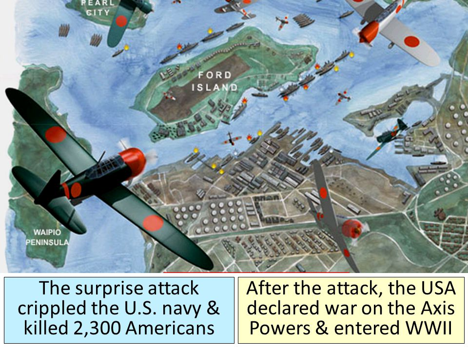 The surprise attack crippled the U.S. navy & killed 2,300 Americans