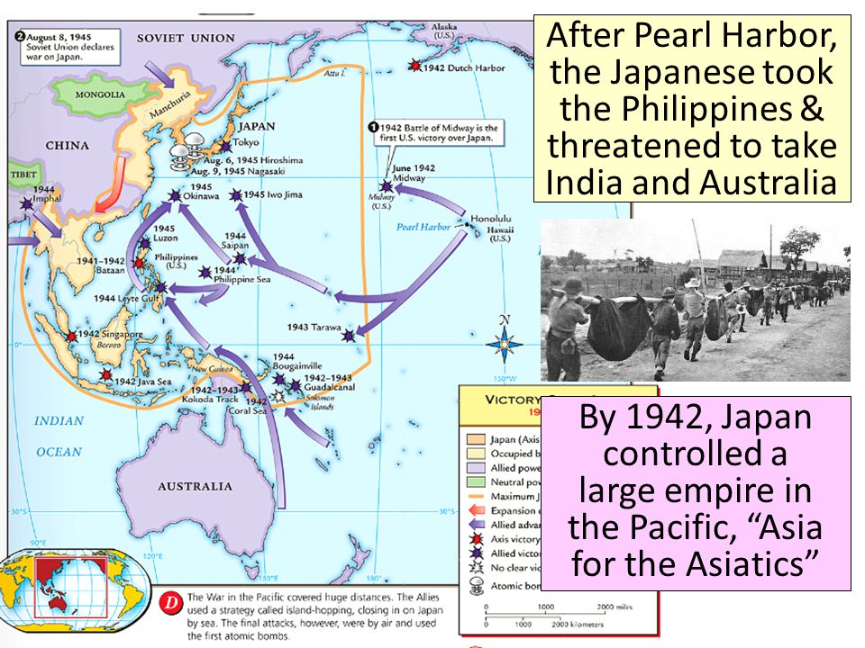After Pearl Harbor, the Japanese took the Philippines & threatened to take India and Australia