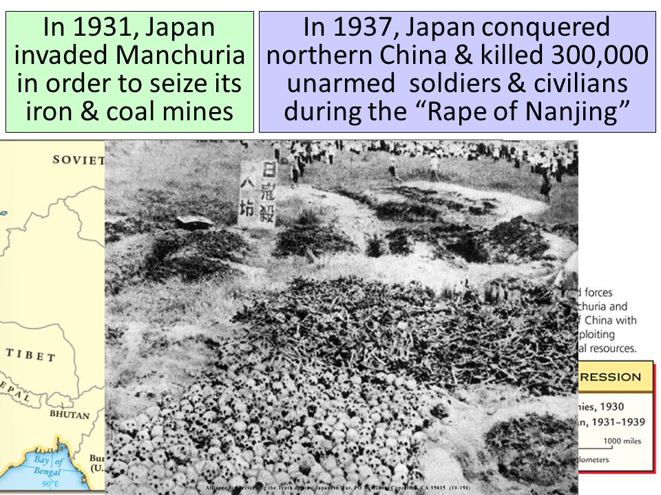 In 1931, Japan invaded Manchuria in order to seize its iron & coal mines