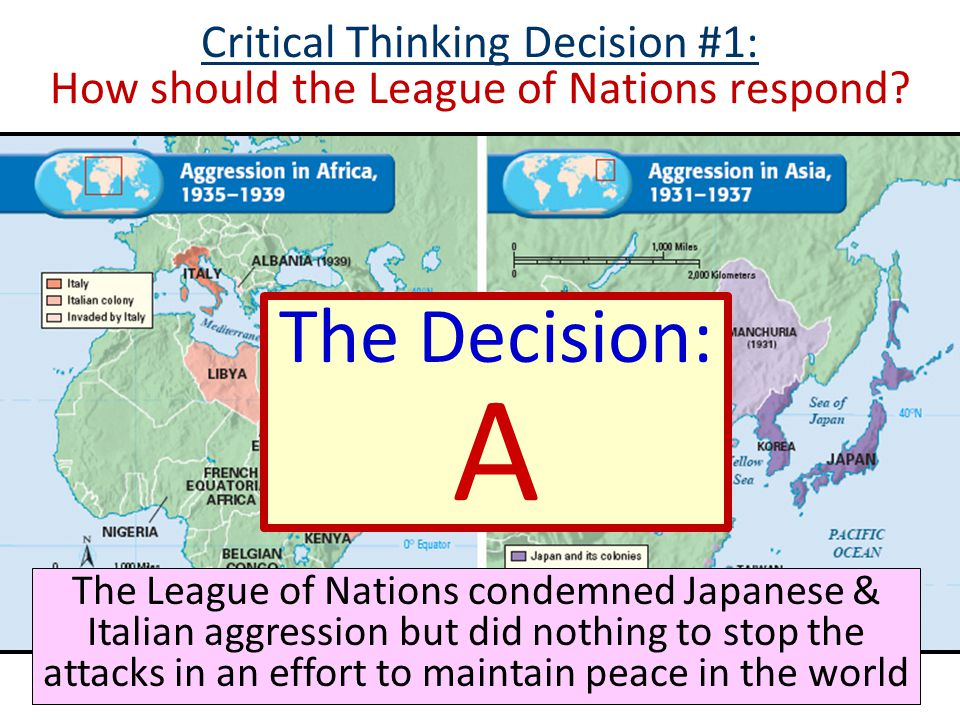 Critical Thinking Decision #1: How should the League of Nations respond