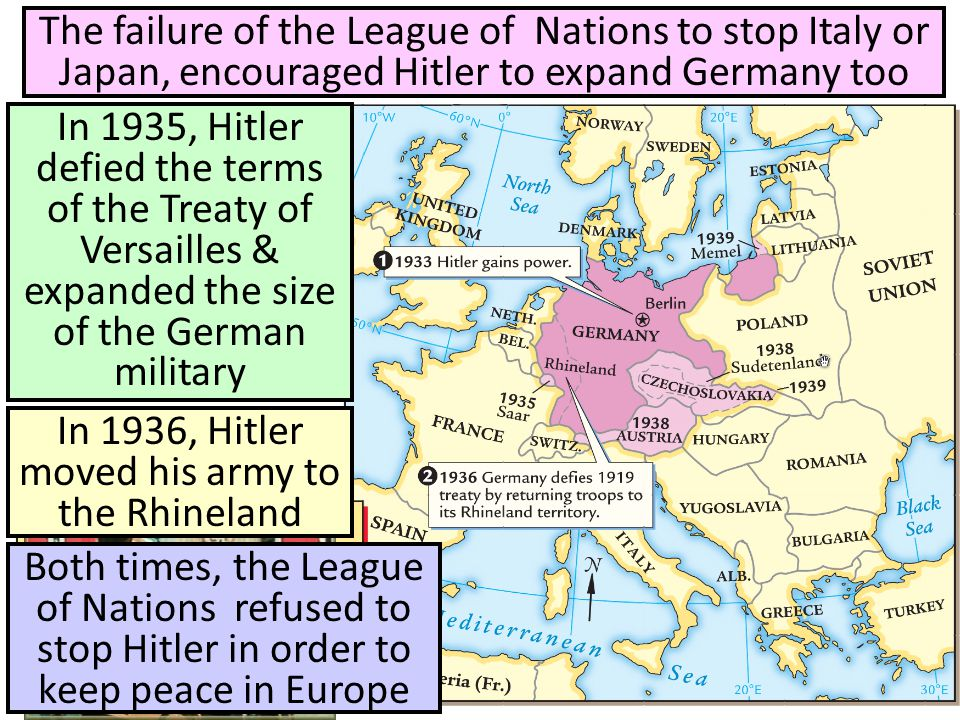 In 1936, Hitler moved his army to the Rhineland