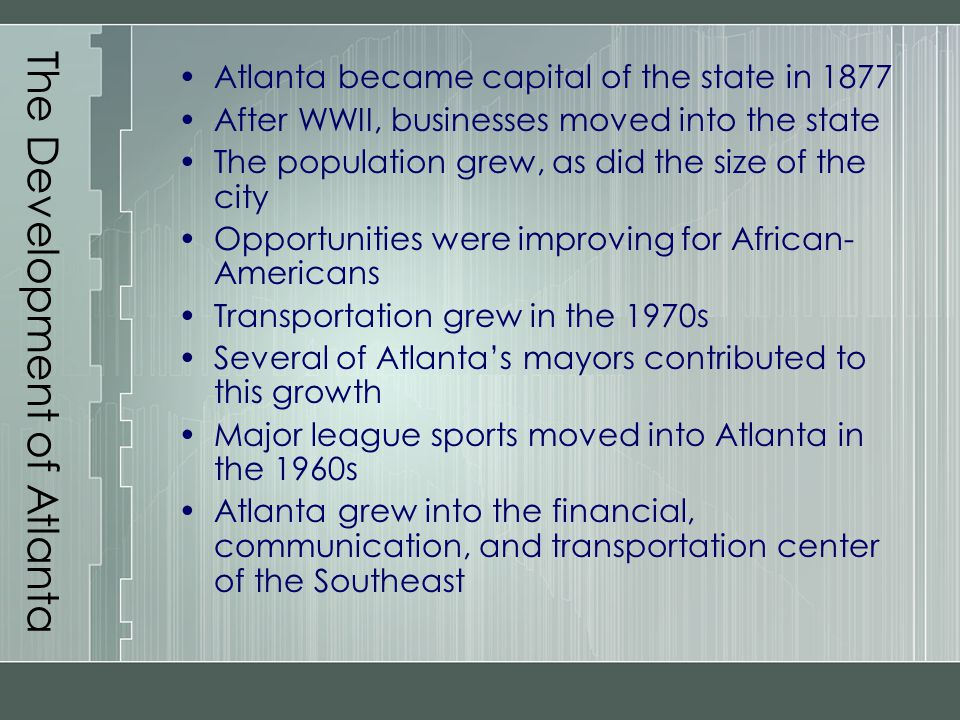 The Development of Atlanta
