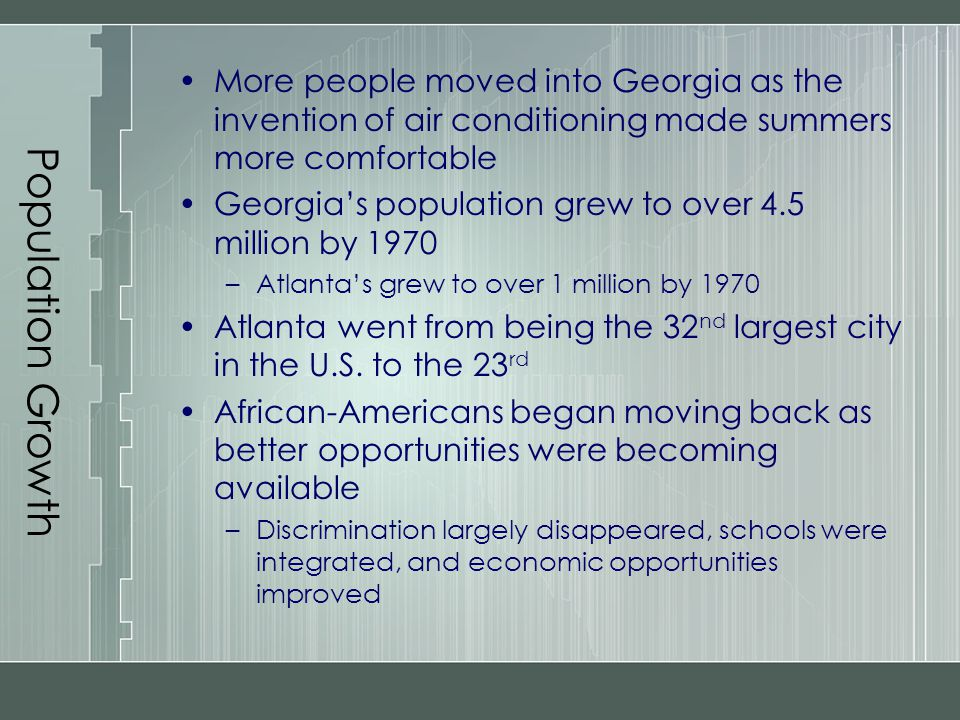 Population Growth More people moved into Georgia as the invention of air conditioning made summers more comfortable.