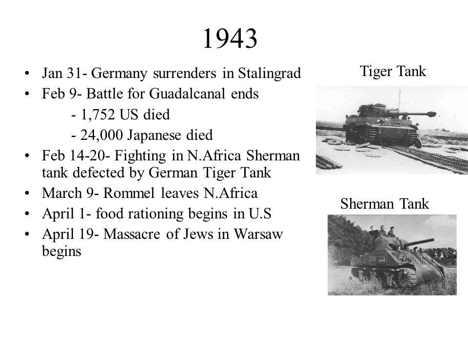 1943 Tiger Tank Jan 31- Germany surrenders in Stalingrad