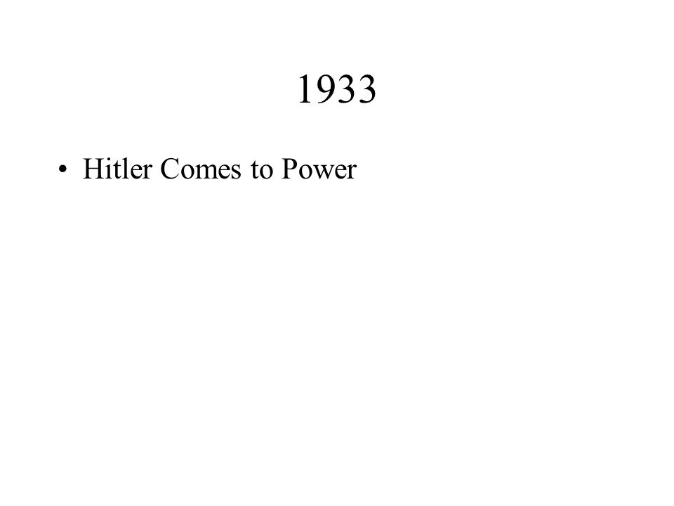 1933 Hitler Comes to Power