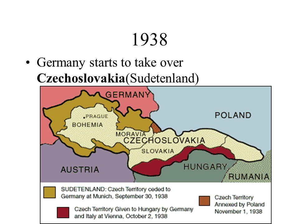 1938 Germany starts to take over Czechoslovakia(Sudetenland)