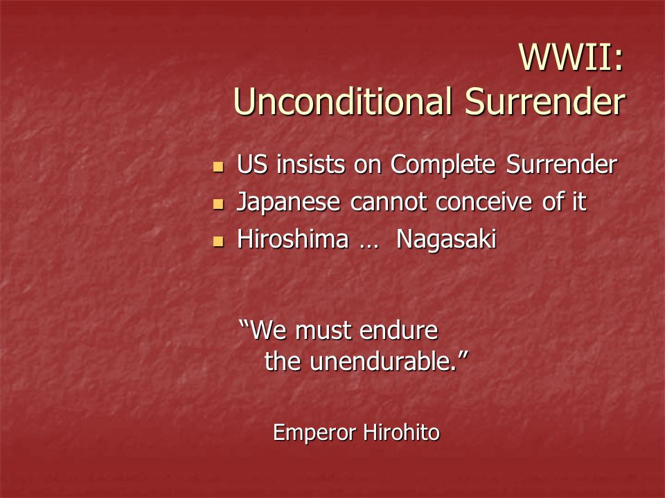 WWII: Unconditional Surrender