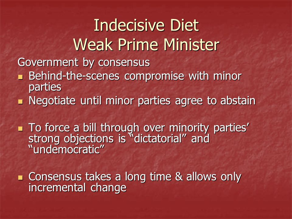 Indecisive Diet Weak Prime Minister