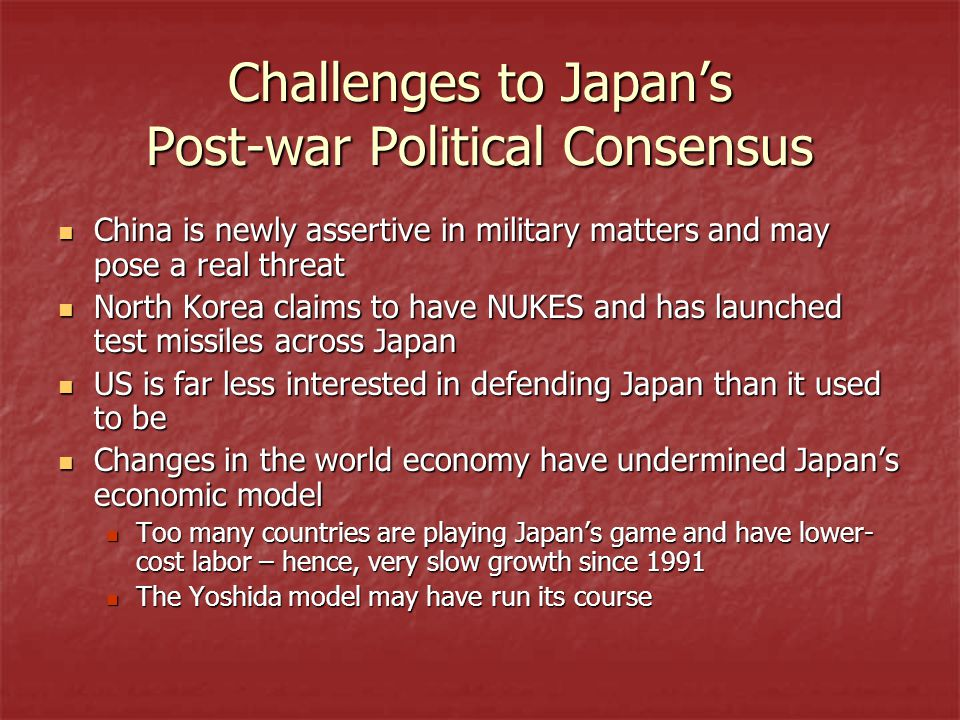 Challenges to Japan's Post-war Political Consensus