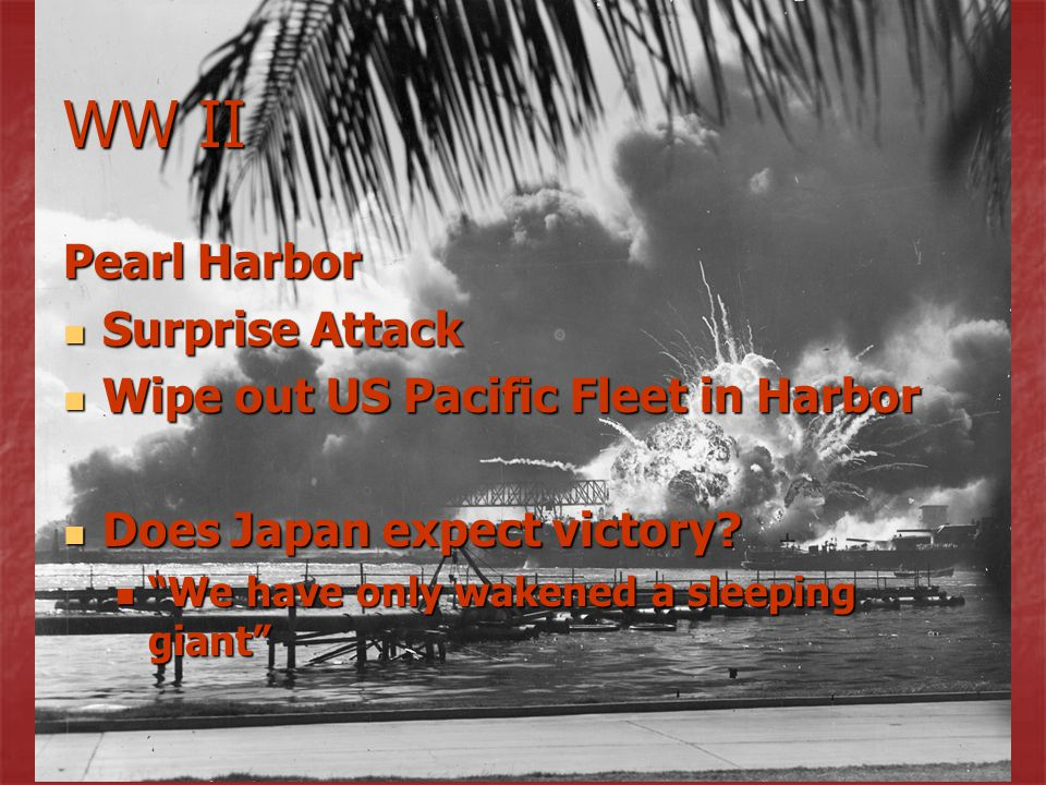 WW II Pearl Harbor Surprise Attack Wipe out US Pacific Fleet in Harbor