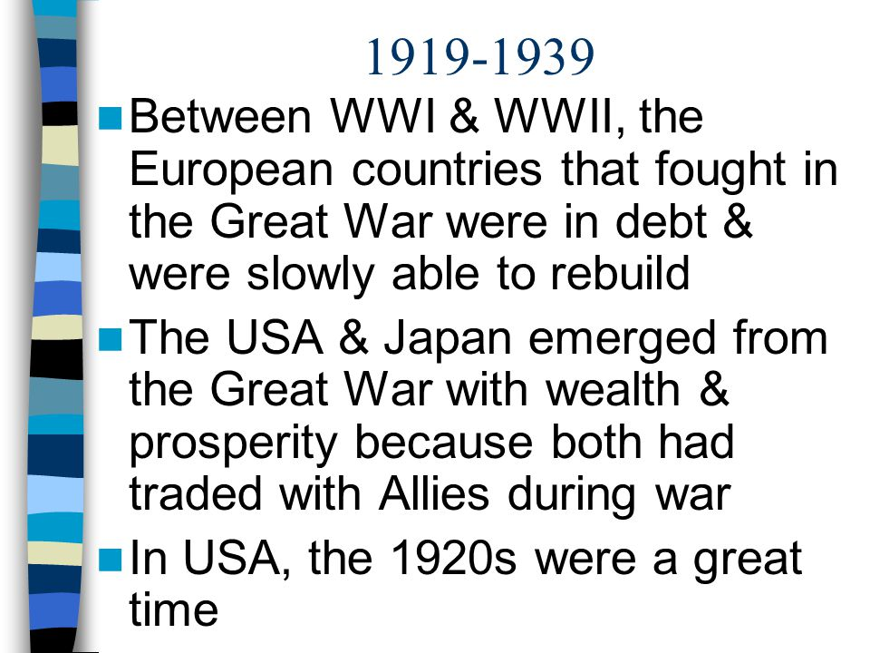 1919-1939 Between WWI & WWII, the European countries that fought in the Great War were in debt & were slowly able to rebuild.