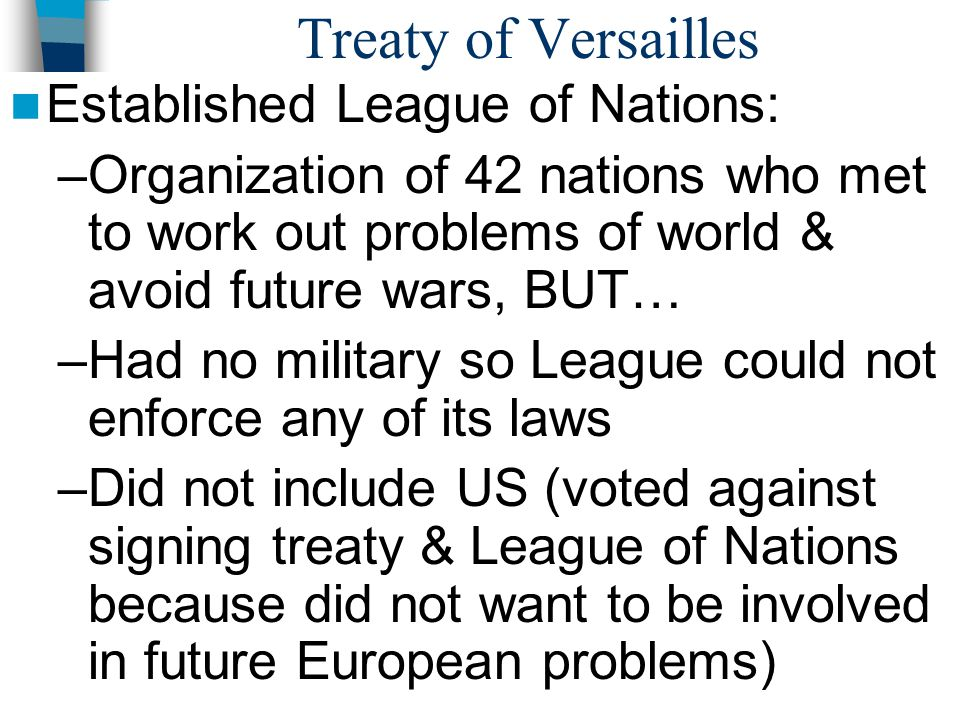 Treaty of Versailles Established League of Nations: